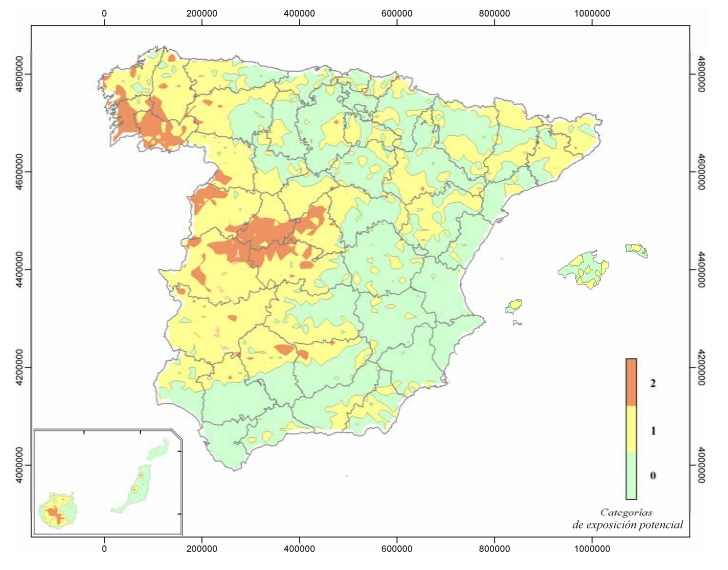 Mapa España Gas Radón